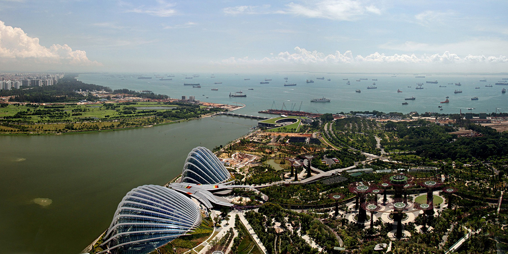 Helicopter view of Singapore