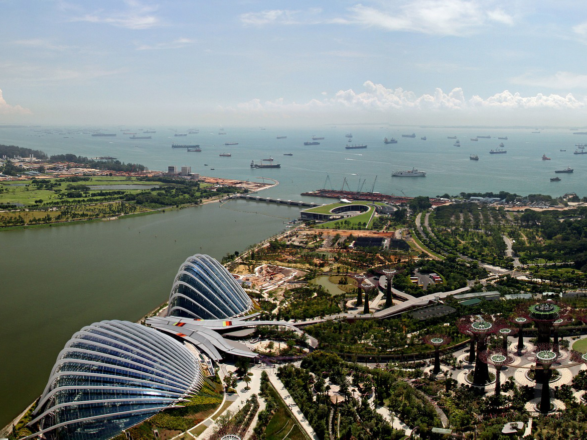 Helicopter view over Singapore