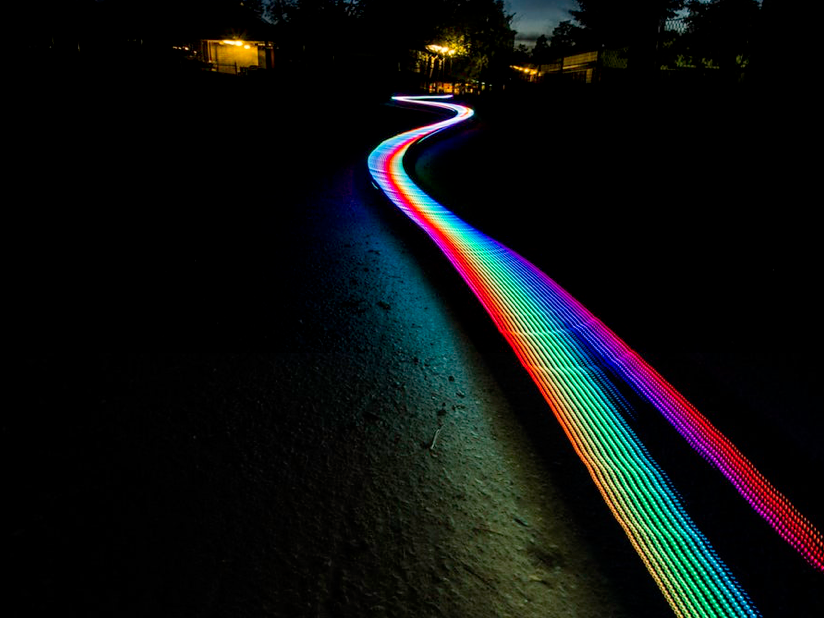 A time lapse photo of a moving light source.