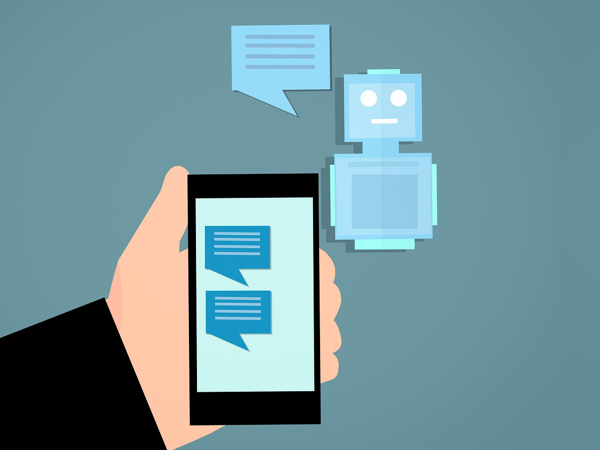 Illustration of a chatbot communicating with a smartphone.