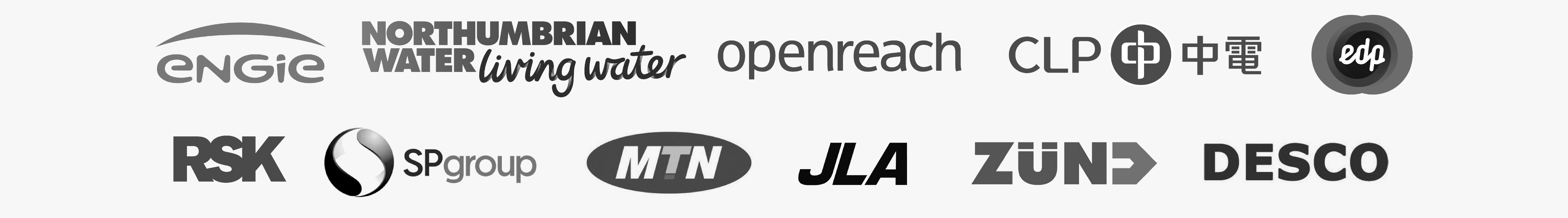 Our clients: Engie, Northumbrain Water, Openreach, CLP, edp, SP Group, JLA, ZUND, DESCO and MTN.