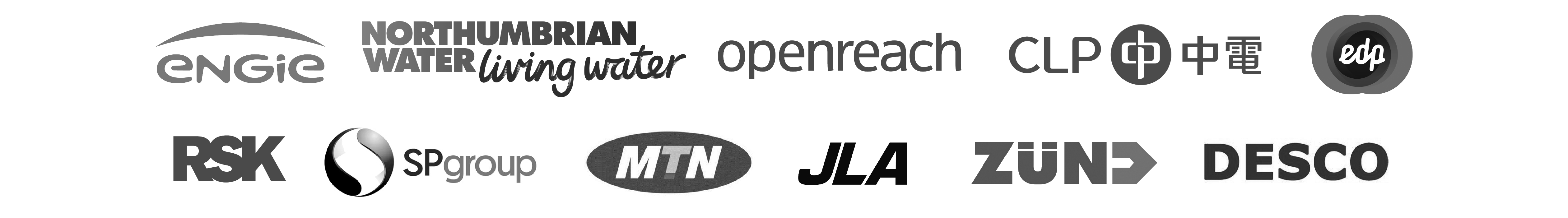 Our clients: Engie, RSK, Northumbrain Water, Openreach, CLP, edp, SP Group, JLA, ZUND, DESCO and MTN